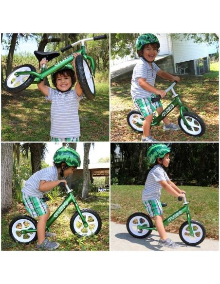 Rowerek biegowy Cruzee 12 SAFE zielony białe koła