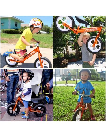 Rowerek biegowy Cruzee 12 SAFE pomarańczowy białe koła
