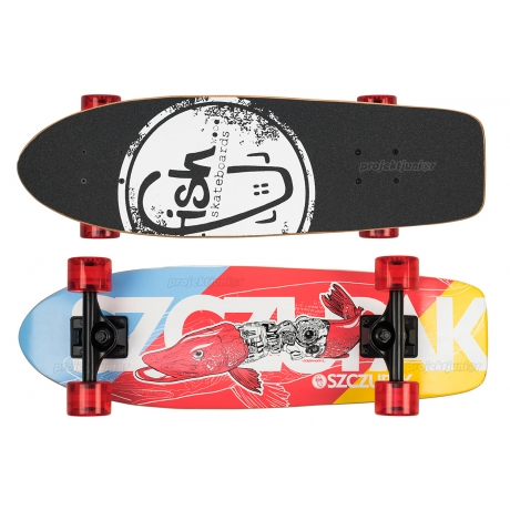 Deskorolka Cruiser Fish Skateboards Szczupak/Black/Transparent-Red