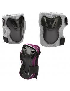 Zestaw dziecięcych ochraniaczy na kolana, łokcie, nadgarstki K2 Charm Pro Grey/Violet
