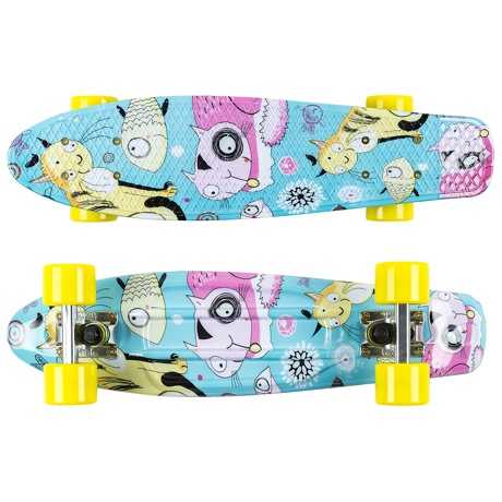 Deskorolka Fish Skateboards Print Cats/Silver/Yellow