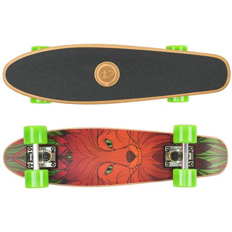 Deskorolka Cruiser Wood Fish Skateboards Red Fox/Silver/Green