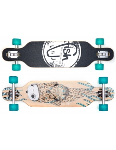 Deskorolka Longboard Fish Skateboards Drumfish/Silver/Transparent-Green